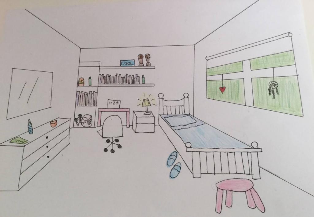 One Point Perspective Bedroom Year 5 6 Art Lesson Primary School Art